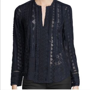 Rebecca Taylor Silk Embroidered Chiffon Blouse